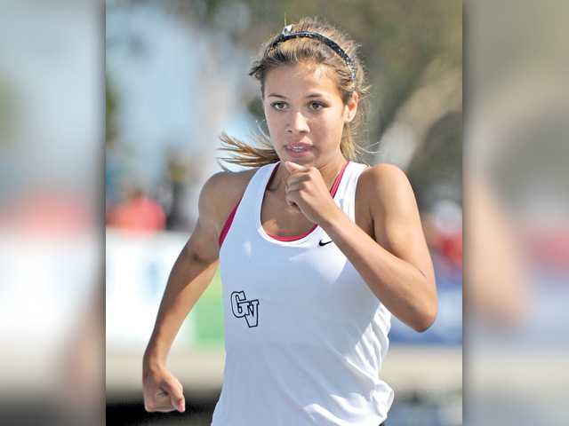 Golden Valley's Bianca Tinoco finishes the 800 at the CIF-Southern Section Division II track and field finals at Cerritos College on May 23, 2015. Signal photo byKatharine Lotze.