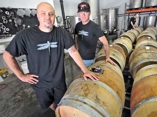 Co-owners and co-wine makers Steve Lemley, left, and Nate Hasper of Pulchella Winery in Valencia. Photo by Dan Watson