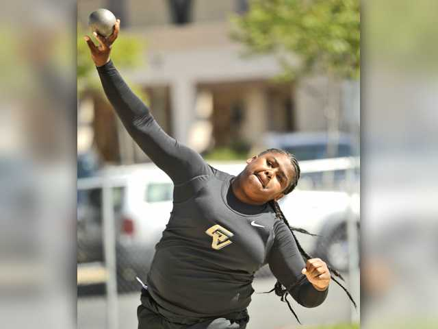 Golden Valley's Cheyanne Franklin throws the shot put during a dual meet against West Ranch on Wednesday.Signal photo by Katharine Lotze.