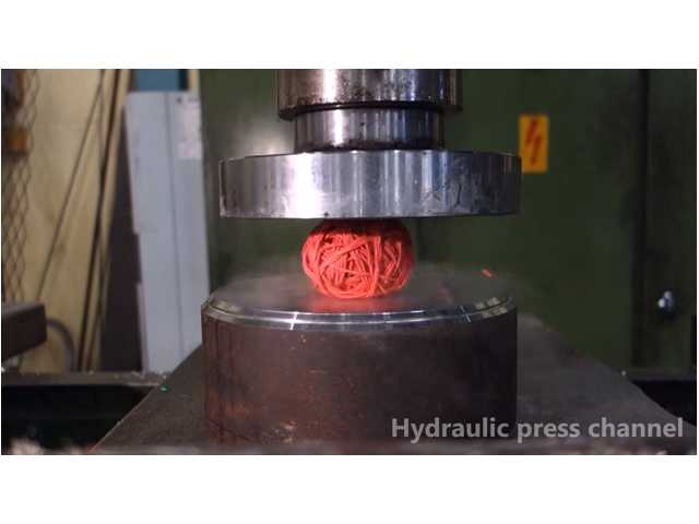 have you seen this frozen stuff gets crushed by hydraulic press