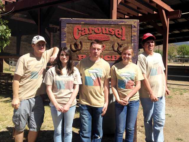• Five Carousel Ranch students who participate at different levels, from volunteering an hour or two per week, to two who are on the ranch's weekly payroll. Courtesy photo