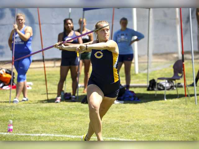 College of the Canyons freshman Dana Bowers claimed a Western State Conference championship in the javelin with a throw of 33.61 meters on Friday, while also qualifying for the CCCAA SoCal Championships in three events. Photo by Jesse Munoz/COC Sports Information Office