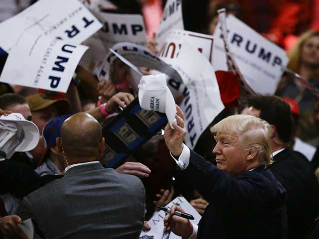 Trump making case to GOP insiders after chaotic rally scene