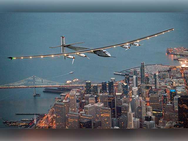 Solar plane on global trip soars from California to Arizona