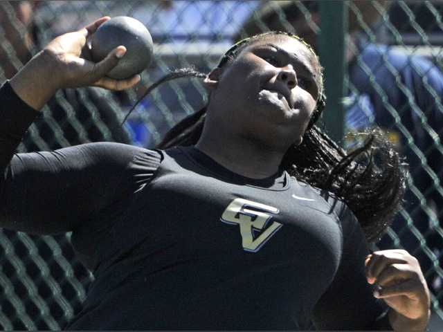Shyann Franklin of Golden Valley throws the shot put at the CIF Southern Section track and field finals at Cerritos College in Norwalk on Saturday. Signal photo by Katharine Lotze