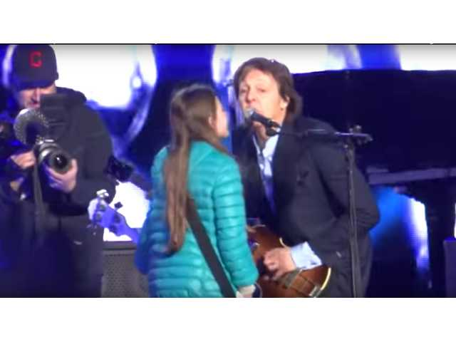 The Clean Cut: 10-year-old girl performs on stage with Paul McCartney
