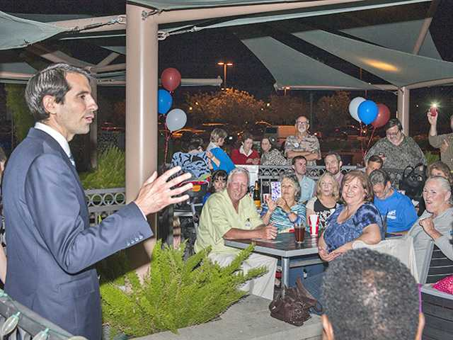 Democrat Bryan Caforio, seen here at an election-night celebration, won 28.7 percent of the vote in Tuesday's 25th Congressional District primary election and will face incumbent Republican Steve Knight in November. Signal photo by Dan Watson.