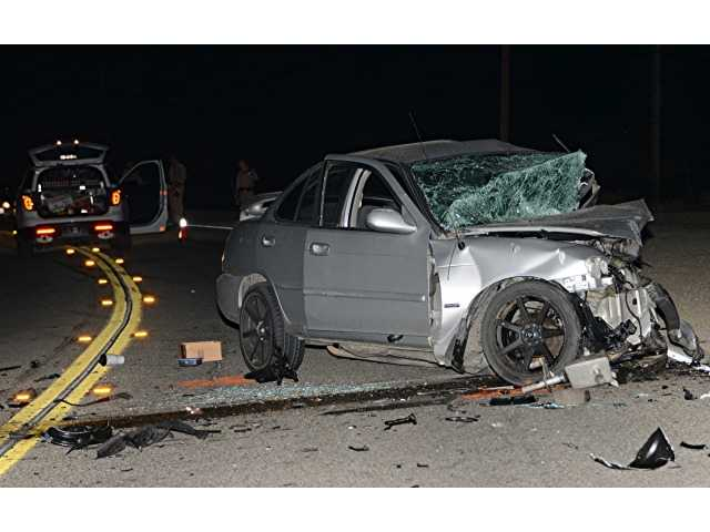 One of two cars involved in a two-car head on fatal crash on Sierra Highway early Wednesday morning. Photo by Rick McClure, for The Signal.