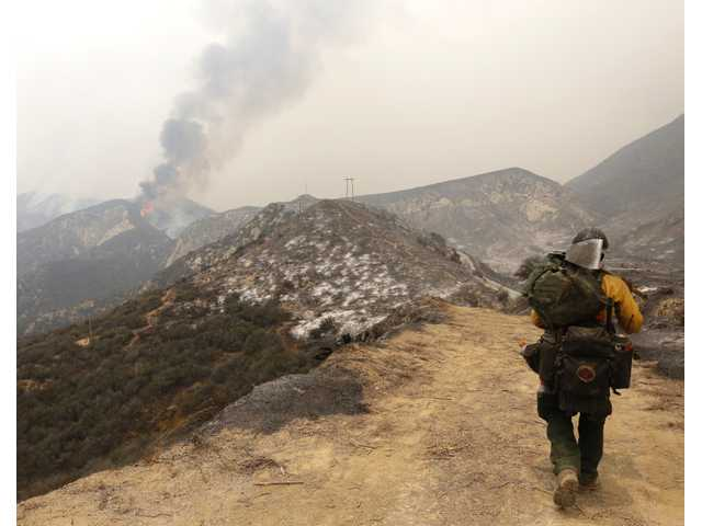 The Sand Fire burns near Wildlife Waystation on Little Tujunga Canyon Road on Saturday. Signal Photo by Katharine Lotze