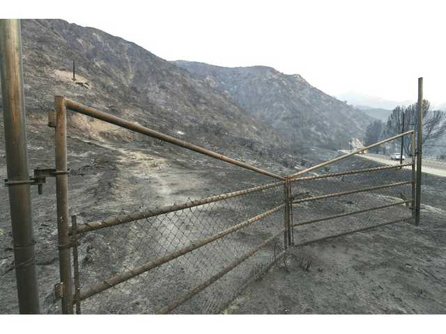 Hillsides are charred in the Agua Dulce area. Signal photo by Dan Watson