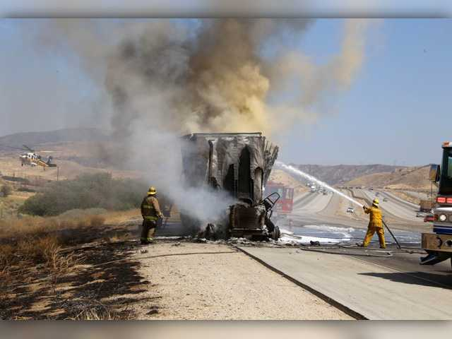 Big rigs spark two separate fires along interstate
