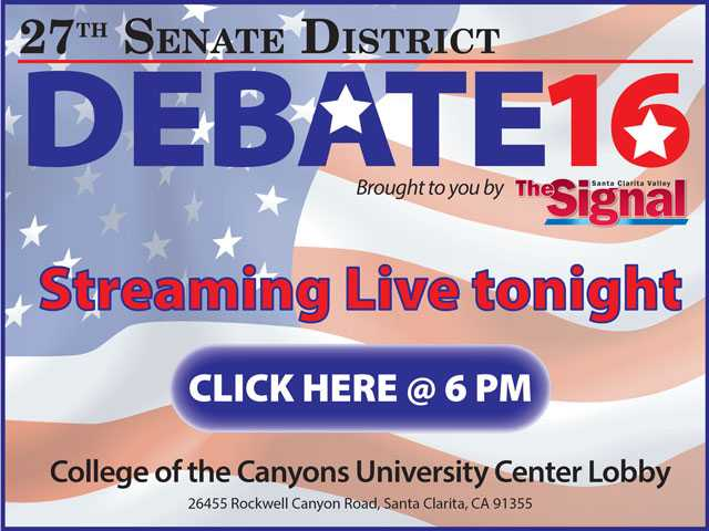 Live streaming of 27th State Senate District debate at 6 tonight