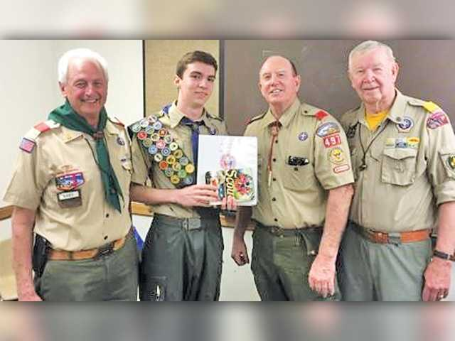 • Matthew Hoge receiving his Eagle Scout award in spring 2016. Courtesy photo