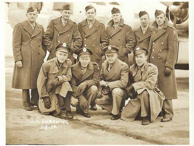 "Gordon Rogers' bomb squad: Gordon Rogers (top left) with his ""Bungay Buckeroos"" bomber squad. Courtesy photo."