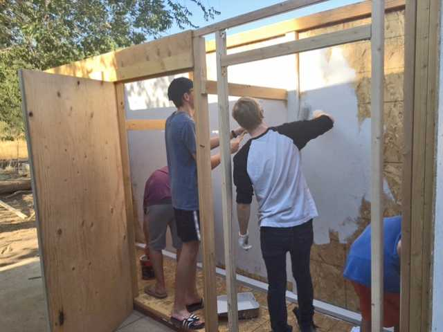 Klipfel working on building food storage units for the SCV Food Pantry. Courtesy photo