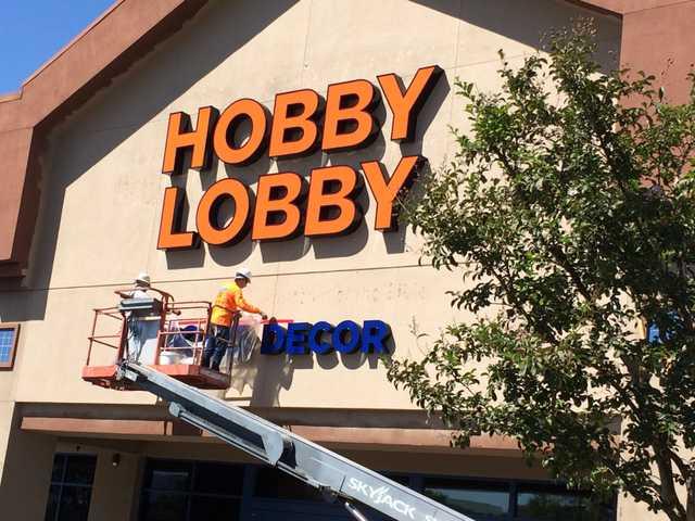 Sign goes up at Hobby Lobby
