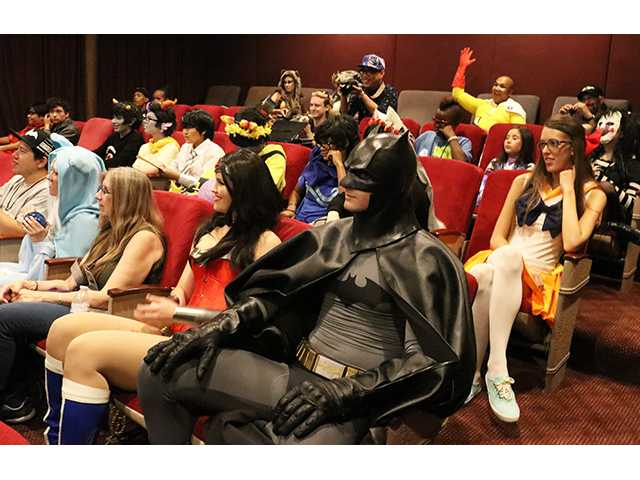 Cosplayers wait for the costume contest in the theatre at LIMS Studio in Castaic during SCV Comic Con on Saturday. Nikolas Samuels/The Signal
