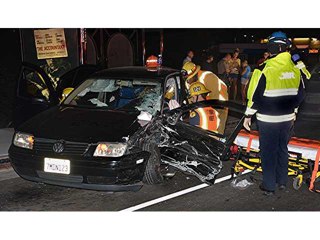A two-vehicle collision on Newhall Avenue and North Sierra Highway injured two people Saturday night. Rick McClure/For the Signal