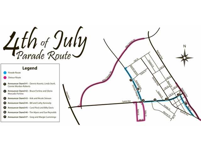 Here's a map of the route for the 2009 Santa Clarita Fourth of July Parade. UPDATE: George and Margie Cummings have replaced the Gills as parade announcers.