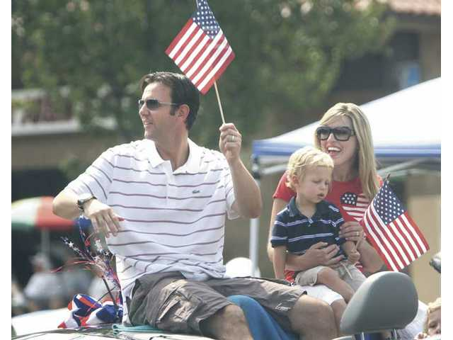 Assemblyman Cameron Smyth (R-38), his wife Lena and their two kids, longtime Santa Clarita residents, rode in the 2008 Fourth of July Parade through Newhall.