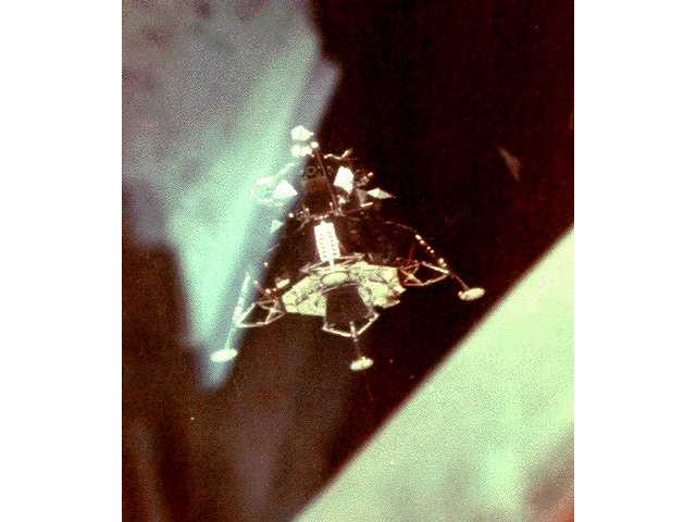 Lunar module inspection after undocking.