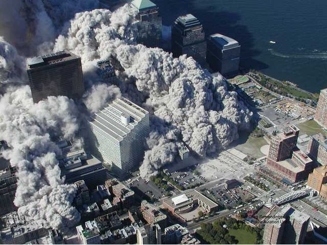 Chilling aerial photos of Sept. 11 attack released