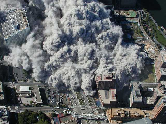 This photo taken Sept. 11, 2001 by the New York City Police Department and obtained by ABC News, which claims to have obtained it under the Freedom of Information Act, shows smoke and ash engulfing the area around the World Trade Center in New York.
