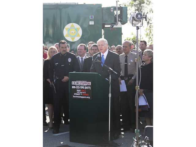 "Supervisor Michael D. Antonovich was joined by Sheriff Lee Baca and LAPD Chief Charlie Beck to launch ""Crimestoppers."""