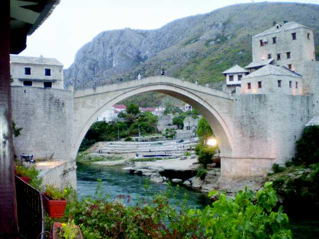 This is the restored old bridge at Mostar, part of the wonderful scenic areas in and around the former country of Yugoslavia.