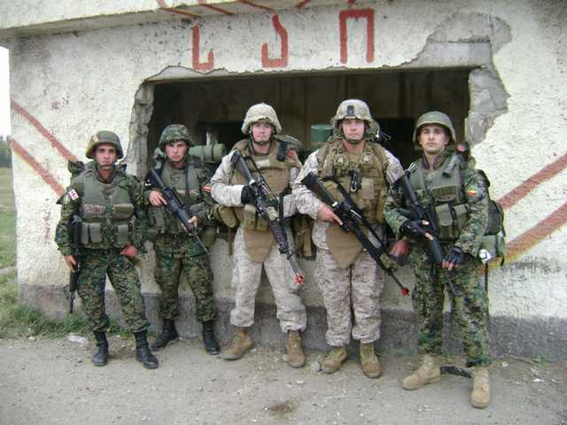 U.S. Marines from 1st Battalion, 4th Marines, role-play as a members of an enemy force during Immediate Response 10, a joint military training exercise held in Tbilisi, Georgia, in November 2009 involving U.S. and Georgian armed forces.