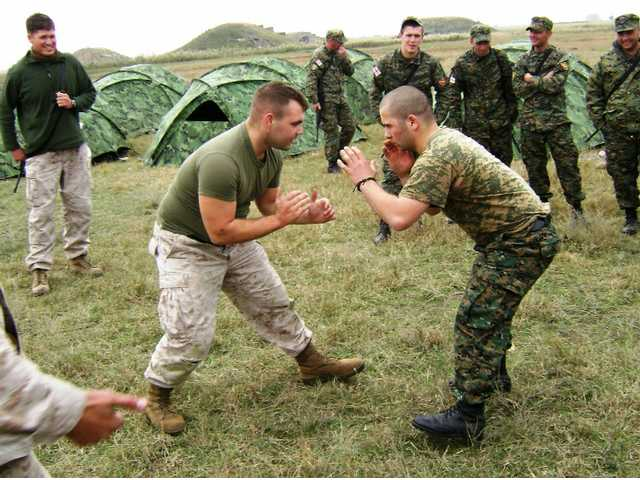 A U.S. Marine and a Georgian army soldier practice hand-to-hand combative techniques at a field-training exercise during Immediate Response 10, a joint military training exercise held in Tbilisi, Georgia, in November 2009 involving U.S. and Georgian armed forces.