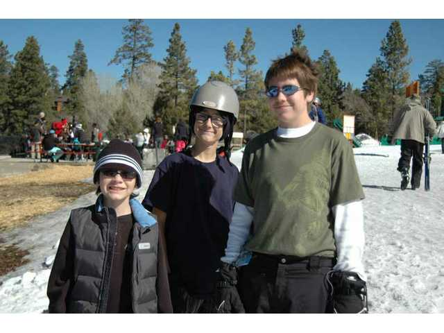 Left to right, Arron Neal, Logan Wilson and Joe Arrunategui enjoy the sunshine at Big Bear Mountain Resort.