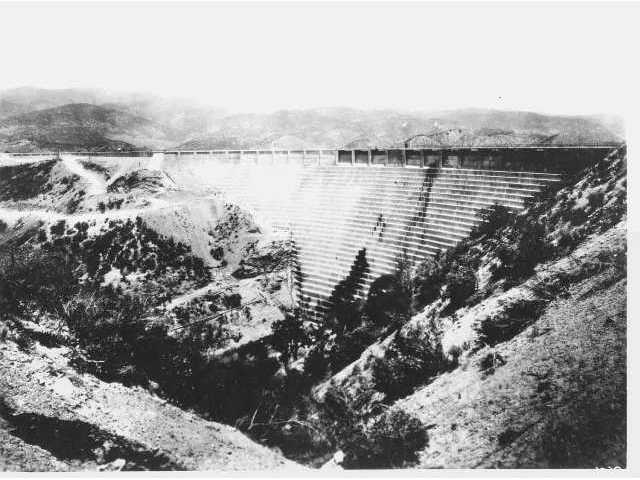 BEFORE: The St. Francis Dam is shown shortly after it was constructed across San Francisquito Canyon in 1926.