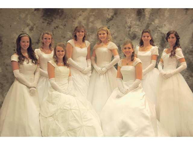 The 2008-09 Henry Mayo Silver Rose debutantes line up for a group photo at the Grand Ball at the Sheraton Universal. Left to right, Jennifer Rios, Katie Baker, Alexandra Crowder, Kebra Sedam, Heather Duncan, Laura Wehn, Sarah Turchan, and Noelle Chadbourne.