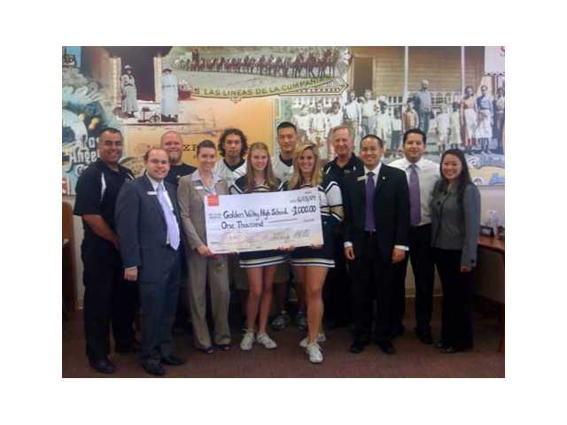 Wells Fargo presented Golden Valley with a $1000 donation and hands-on training.
