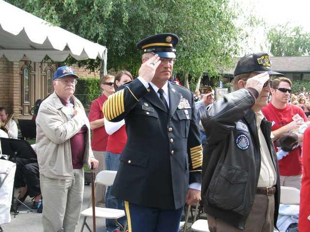 (Left to right) Bob Ventrice, VietNam Veteran (101st Airborne); First Sergeant Rick Casper, USAR, Retired, Enduring Freedom Veteran, served in Iraq; Morris Deason, Veteran of WWII.