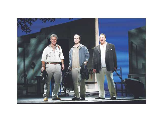 "Left to right, Martin Kildare, John Hemphill and Michael Aaron Lindner in ""Mamma Mia!"" at the Pantages Theatre in Hollywood. The popular musical is inspired by the music of ABBA."