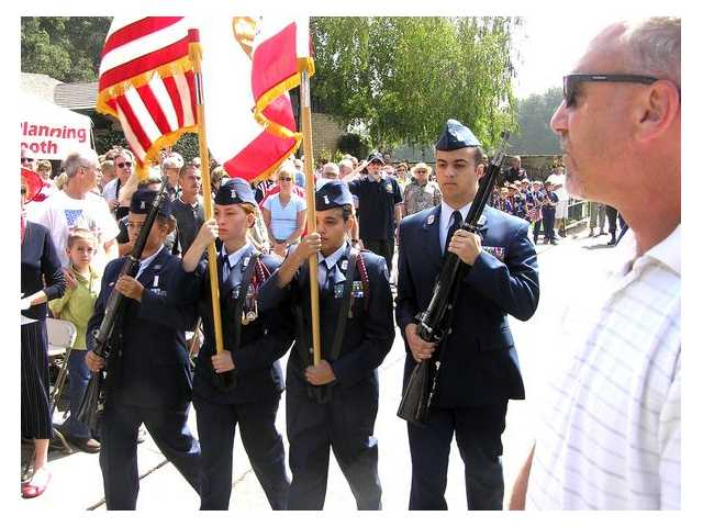 Santa Clarita JROTC present the National and State Flags at the ceremony.