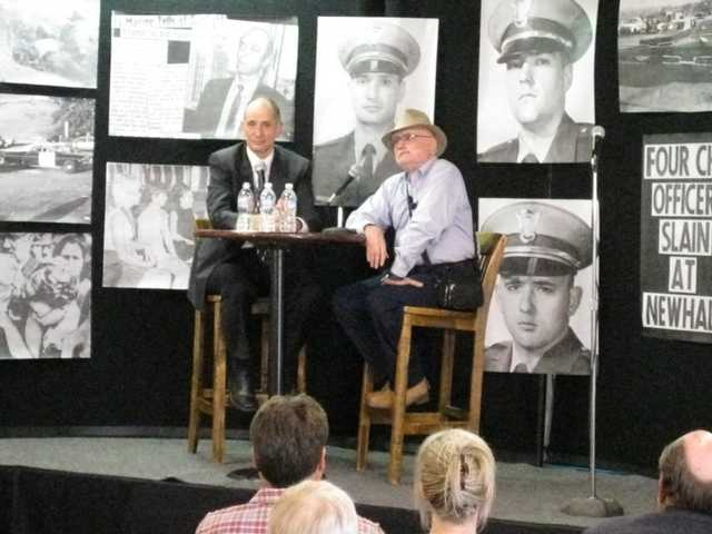 Former California Highway Patrol officer Harry Ingold and Gary Kness recount the April 5, 1970 Newhall Incident during the Santa Clarita Valley Historical Society lecture on Sunday. The lecture commemorated the 39th anniversary of the tragic event.