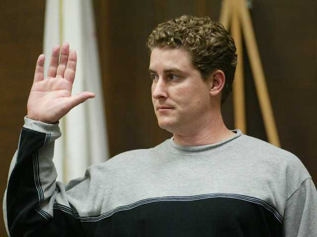 In this Feb. 4, 2004 file photo, Timothy White is sworn in before testimony in the trial of Kenneth Parnell in Alameda County Superior Court in Oakland, Calif. Timothy White, the youngest victim and last survivor of a notorious California kidnapping saga, has died. He was 35.