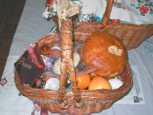 A traditional Ukrainian Easter basket containing, among other delights, pysanky Easter eggs.