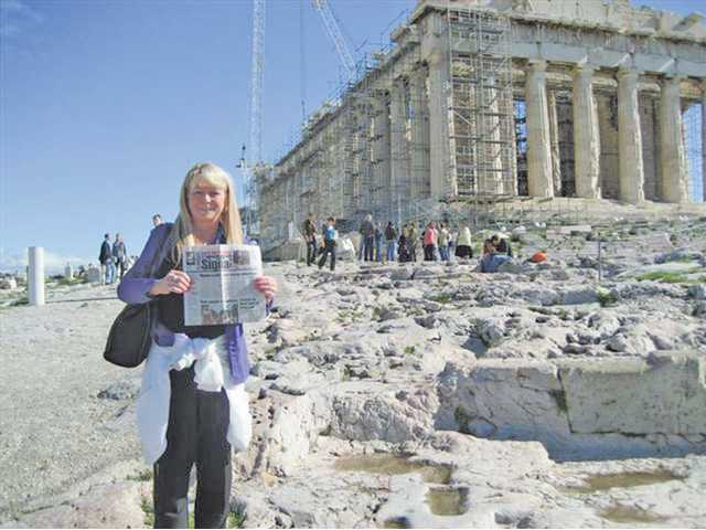 Sally Bond-Wolf visited the Acropolis in Athens, Greece while traveling. Her husband was busy with a meeting during the day so Bond-Wolf decided to explore for the city and its gems, even though the Acropolis is undergoing renovation.