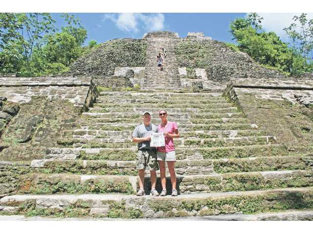Landon and Tracy O'Hara stand at the front of the Lamanai Mayan Ruin in Belize on Oct. 2, where they celebrated their 10th wedding anniversary.