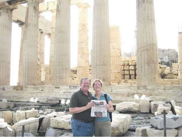 Don and Cheryl Elm took a vacation to Greece and Turkey in October. Pictured behind them is the Parthenon on the Acropolis in Athens, Greece.