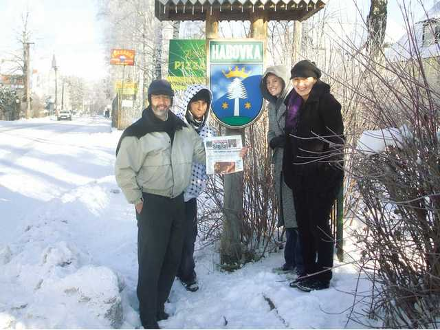 Left to right, Mike Lepp stands with his children Andrew Lepp, Emilia Lepp and Megan Lepp in the Tatras Mountain village of Habovka, Slovakia. The photo was taken by Deborah Lepp in January 2009.