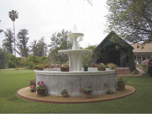 The newly restored fountain at Rancho Camulos (center) is shown in plans dated 1853. The chapel (behind the fountain to the right) is consecrated as a Roman Catholic place of worship and was constructed circa 1867.
