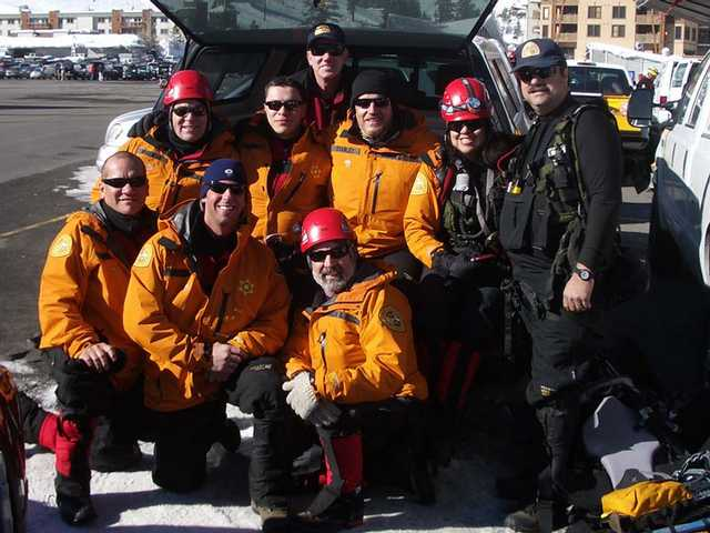Members of the Santa Clarita Valley Search and Rescue Team take a break from training in Squaw Valley. Top, Jim Elvington. Middle from left to right, Ken Wiseman, Carlos Giron, Robert Stanley, Suzanne Towry, Dave Christianson. Bottom left to right, Victor Duran, Tony Buttitta, Fred Smith. A 12 week, 12 hike challenge begins Sunday to benefit the SCV Search and Rescue Team with a kick off at Ed Davis Park in Towsley Canyon.