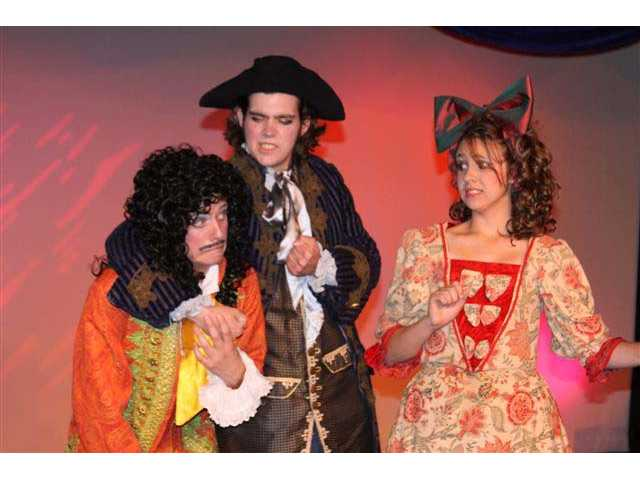 """You're a phony doctor!"" says Matt Sziklay to Kevin Rae (playing Moliere) and Liz Pandrea (playing Mrs. Moliere)."