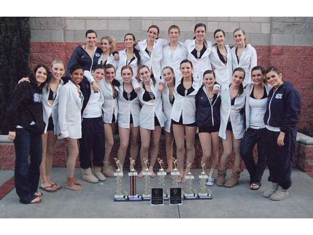 Saugus Dance Team with awards from Miss Dance Drill Team Competition. Back row, left to right: Victoria Friedman, Jessica Breneman, Kellie Janeski, Megan Stokes, Ian Waschak, Katie Lin, Erika Fisher, Haley Slaten. Front row: Bridget Groller, Karissa Petersen, Tamara Sosa, Gianna Mascari, Taylor Friedman, Jenny Gross, Darla MacDonald, Meagan Foertsch, Ali Naranjo, Shea Tinsley, Roxy Haserjian, Courtney Robbins, Nicole Callas.