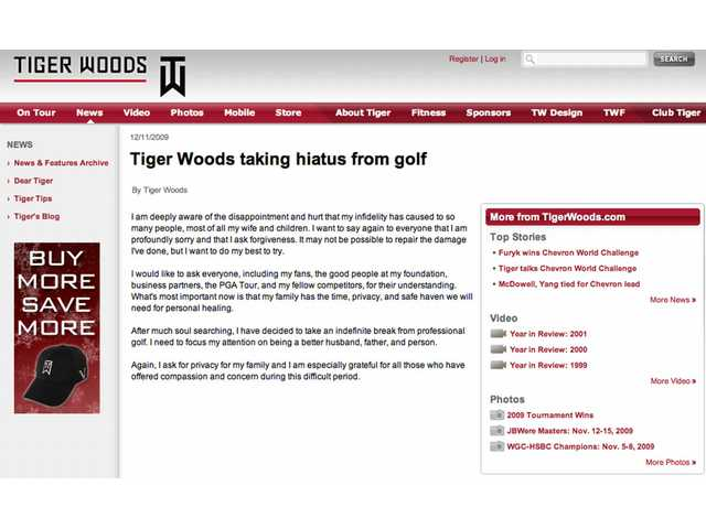 This frame grab of Tiger Woods' Web site on Friday, Dec. 11, 2009, shows the statement he posted announcing he's taking an indefinite leave from golf.